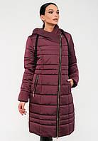 Длинная зимняя куртка косуха на силиконе с капюшоном Modniy Oazis бордовый 90320/1