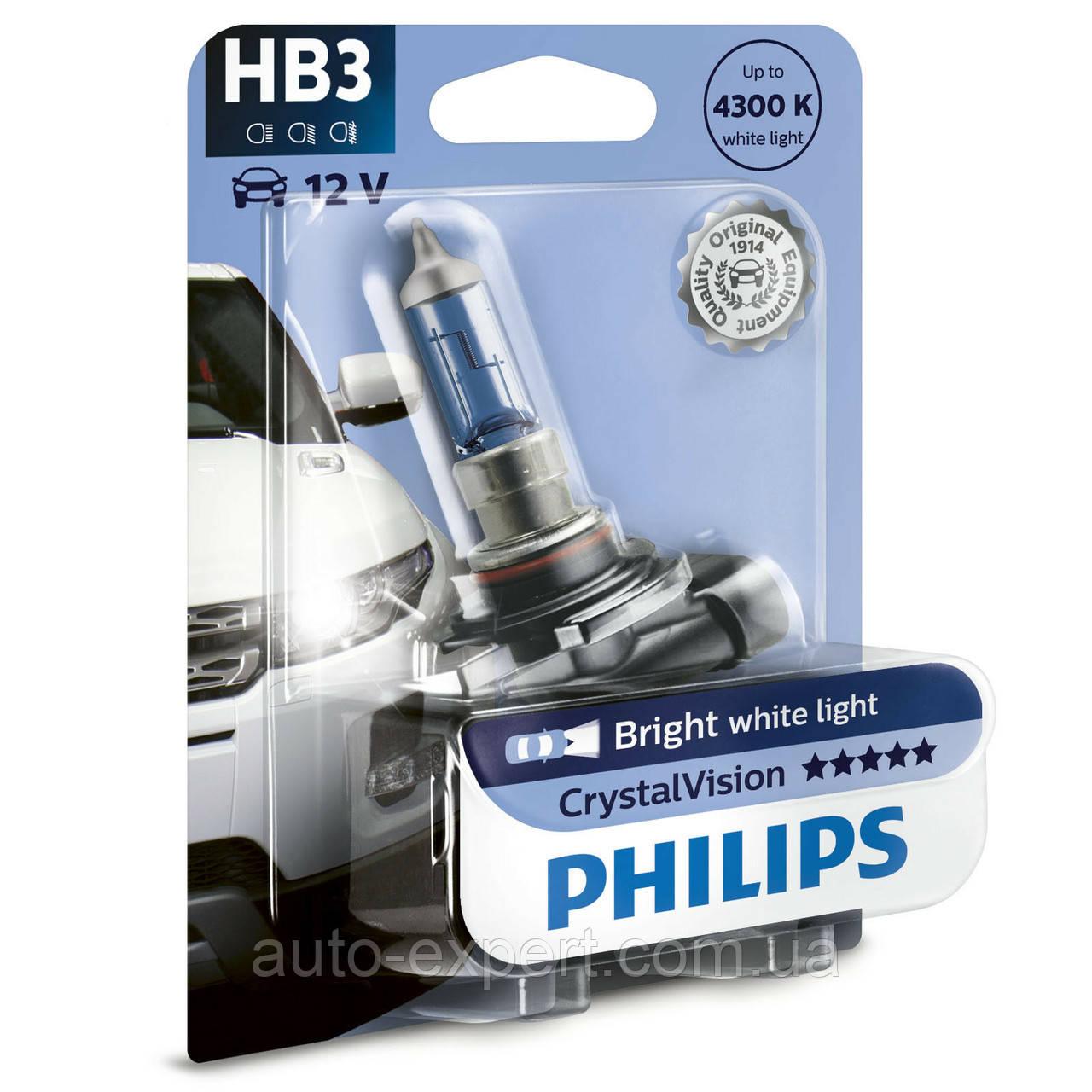 """Автомобильная галогенная лампа """"PHILIPS""""(HB3)(Crystal Vision)(4300K)(12V)(65W)"""