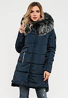 Зимняя женская куртка с мехом и большим накладным карманом на силиконе Modniy Oazis синий 90321