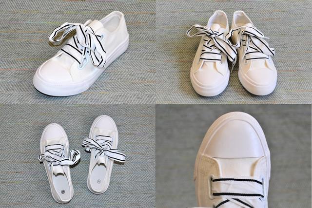Кеди на широких шнурках, білі фото