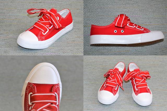 Кеды на широких шнурках, красные фото