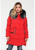 Зимняя женская куртка с мехом и большим накладным карманом на силиконе Modniy Oazis красный 90321/1, фото 1