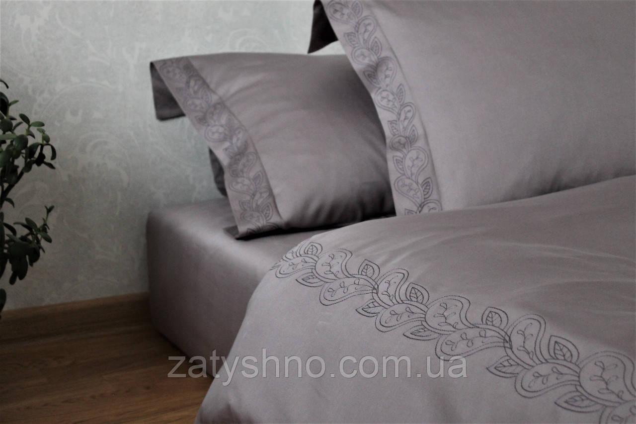 Постельное белье премиум сатин с вышивкой Gray