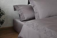 Постільна білизна преміум сатин з вишивкою Gray, фото 1