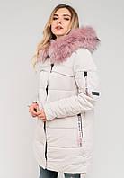 Зимняя женская куртка с мехом и большим накладным карманом на силиконе Modniy Oazis белый 90321/2, фото 1