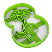 Вирубка для пряників Цифра 8 з квіткою 10*7,6 см (3D)