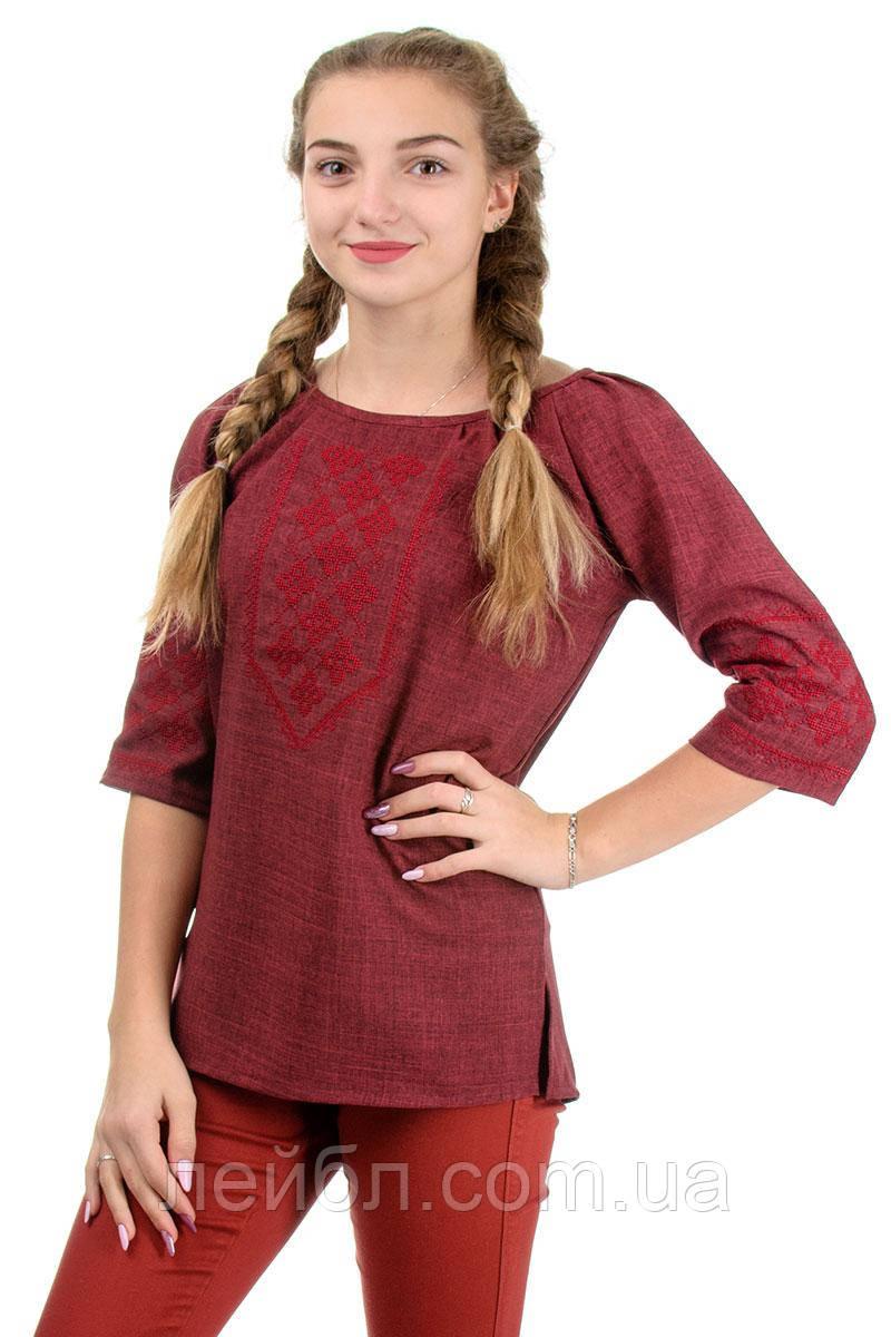 """Стильная блузка с вышивкой лен-габардин, """"марсала"""""""