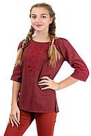"""Стильная блузка с вышивкой лен-габардин, """"марсала"""", фото 1"""