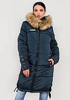Длинная женская зимняя куртка с мехом на силиконе Modniy Oazis синий 90322