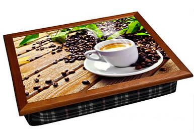 Поднос подушка BST 040358 44*36 коричневый кофе, доски, листья