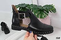 Черные кожаные женсукие туфли на низком ходу, фото 1