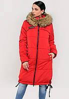 Длинная женская зимняя куртка с мехом на силиконе Modniy Oazis красный 90322/1, фото 1