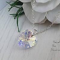 Кулон со сверкающим кристаллом в форме сердца, размером 18 мм в цвете Crystal AB