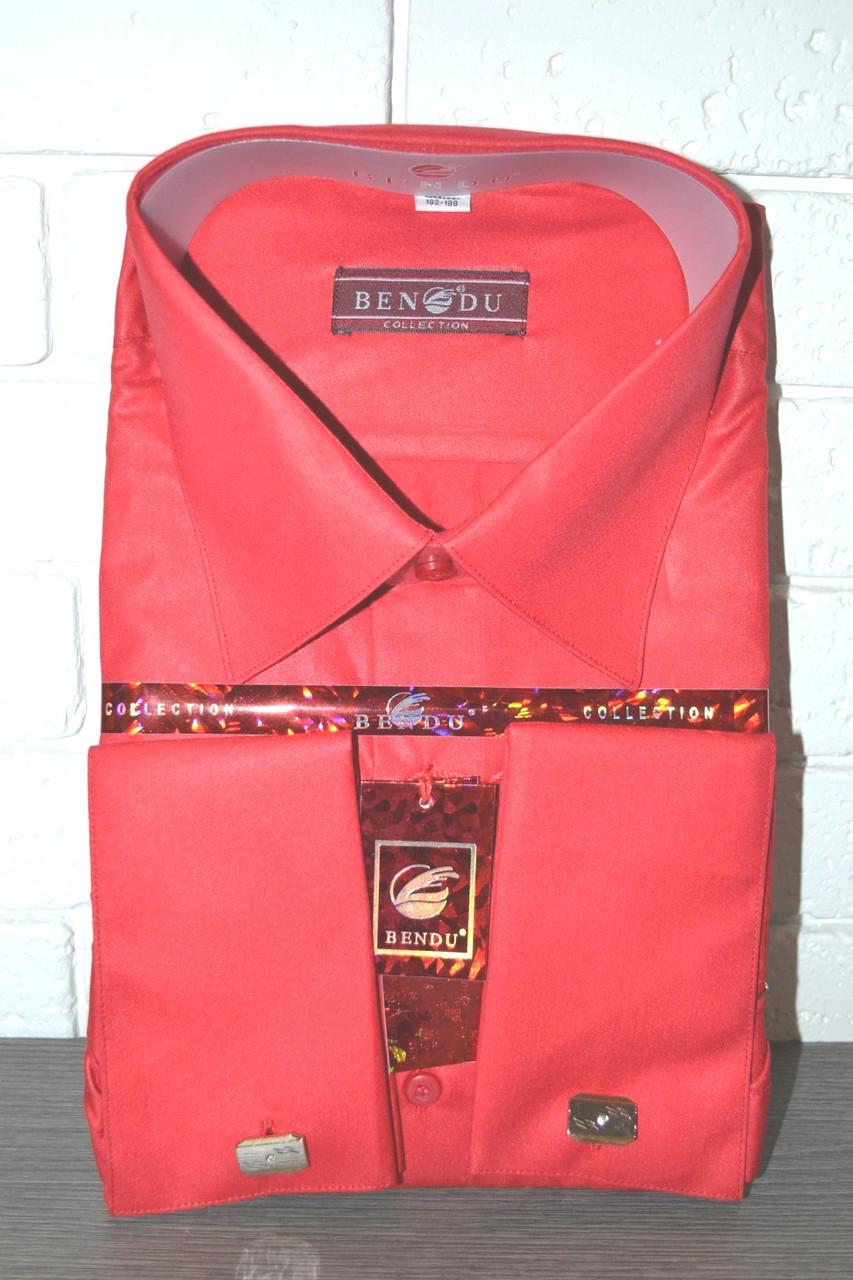 Чоловіча червона сорочка під запонку BENDU (розмір 40.43.44.46)