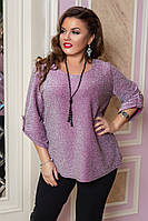 Жіноча батальна  люрексна блуза з гіпюром .Р-ри 48-58