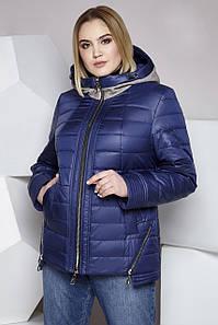 Осенняя куртка с трикотажным капюшоном большого размера 62-64