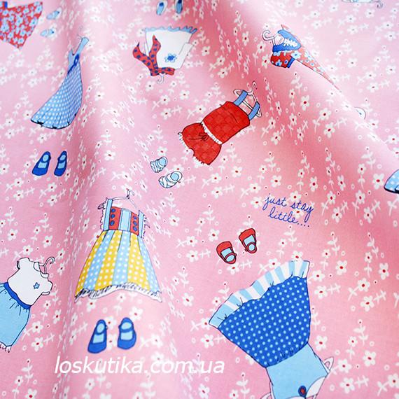 37016 Платьице (розовый фон). Ткань с детским рисунком. Подойдет для пэчворка, скрапбукинга и декора.