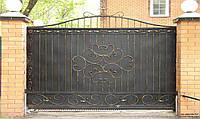 Откатные металлические кованые ворота