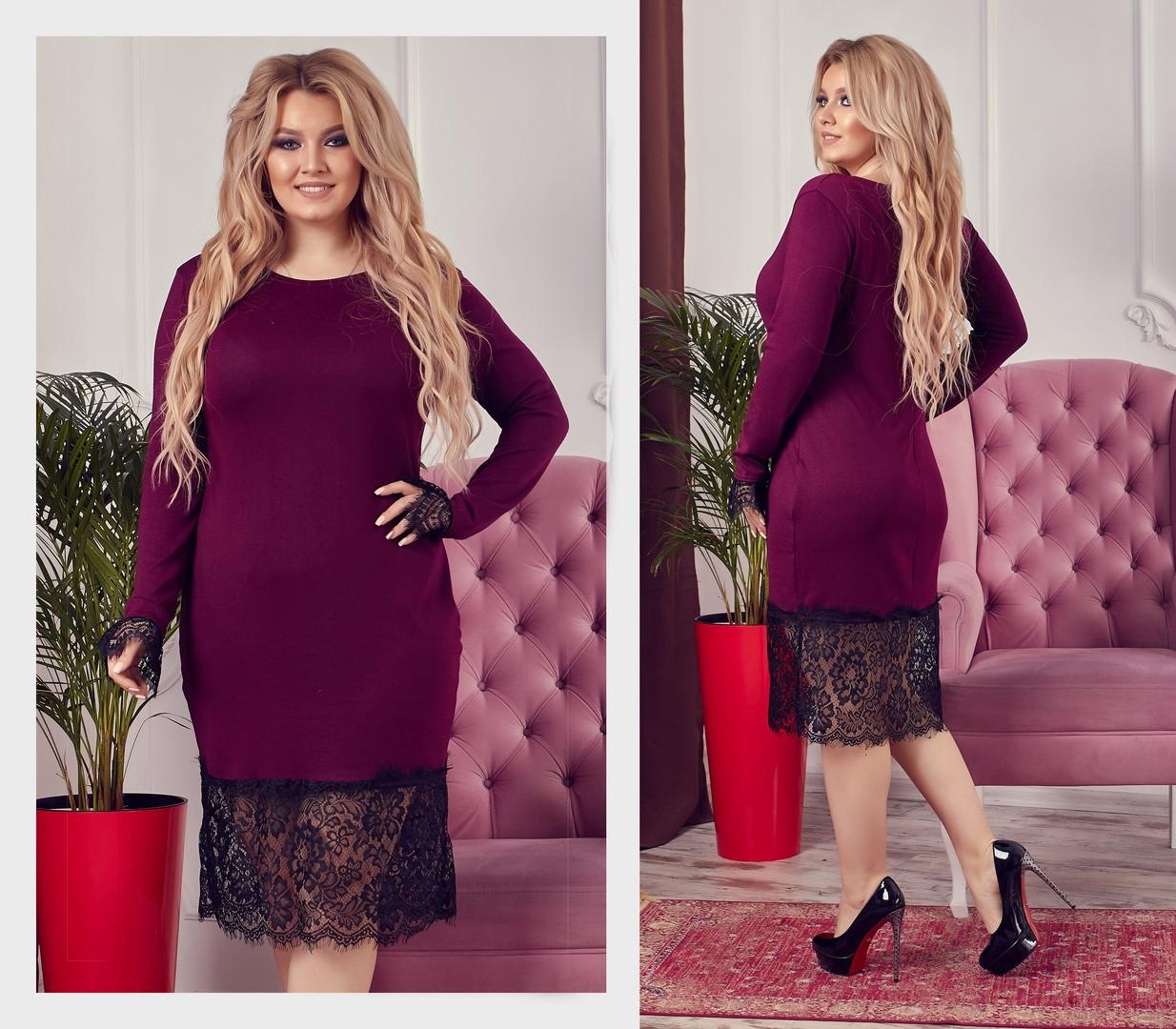 22a724759be Шикарное теплое платье с французким кружевом больших размеров до 58-го -  Стильная женская одежда