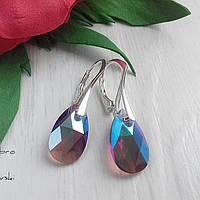 Сережки из серебра 925 пробы с подвесками Swarovski бордово-фиолетового оттенка