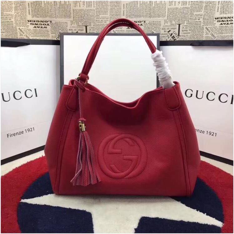 Женская сумка от Гуччи натуральная кожа, 35 см, цвет красный