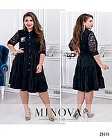 abe4b3f8abd Красивое модное женское платье с ярусным подолом на пуговицах. Большого размера  48