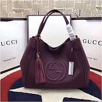 Женская сумка от Гуччи натуральная кожа, 35 см, цвет баклажан