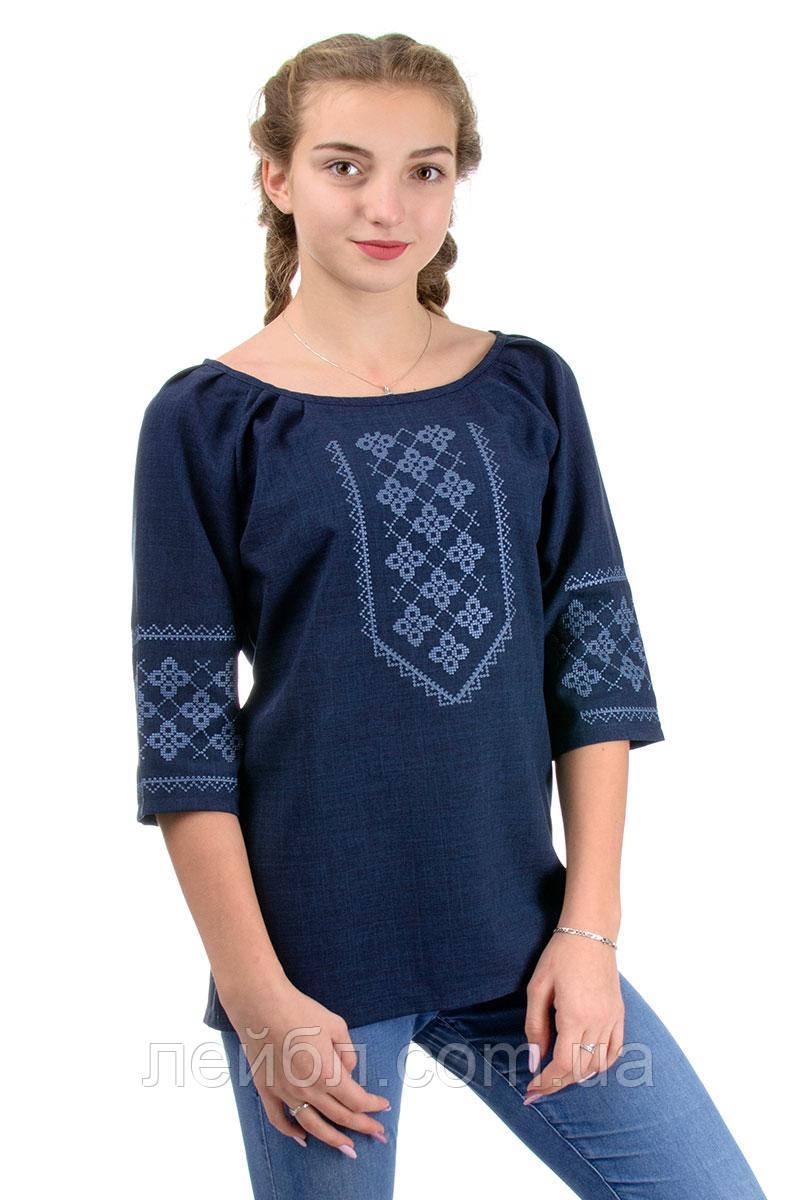 Современная блуза вышиванка , синяя