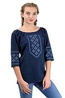 Современная блуза вышиванка , синяя, фото 1