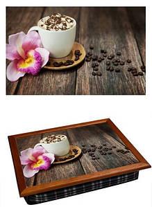 Поднос подушка BST 040350 44*36 коричневый орхидея и кофе