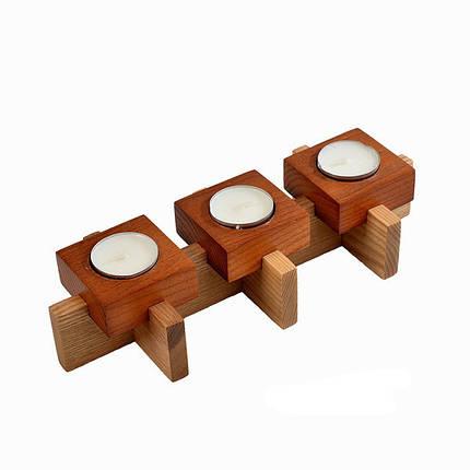 Деревянный подсвечник на три свечи, фото 2