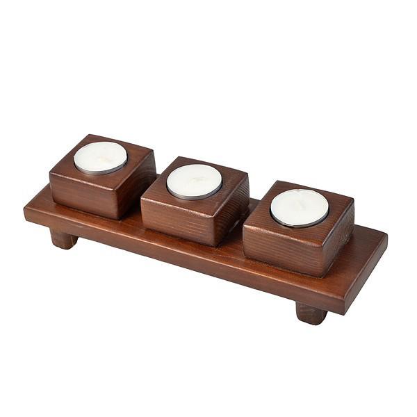 Подсвечник деревянный на 3 свечи таблетки - квадратики