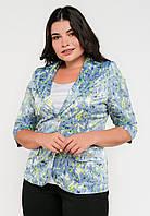 Классический женский полуприталенный жакет с цветочным принтом Modniy Oazis голубой 90176/1, фото 1