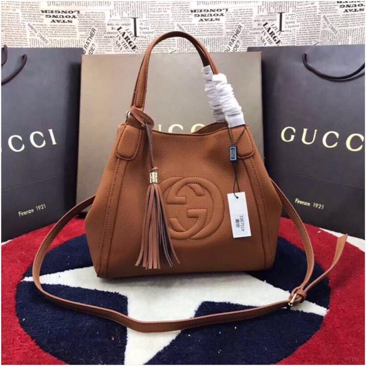 Женская сумка от Гуччи натуральная кожа, 30 см, цвет коричневый
