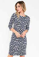 Стильное изысканное женское платье из французского трикотажа с цветочным принтом и рукавами¾ 90202/1, фото 1