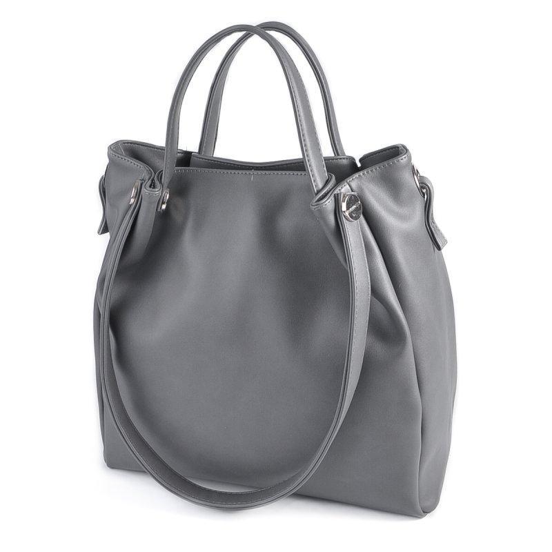 8dcdfcb1 Серая сумка-шоппер М130-23 летняя модная с комбинированными ручками, фото 1