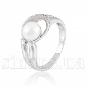 Кольцо из белого золота с жемчугом 6160