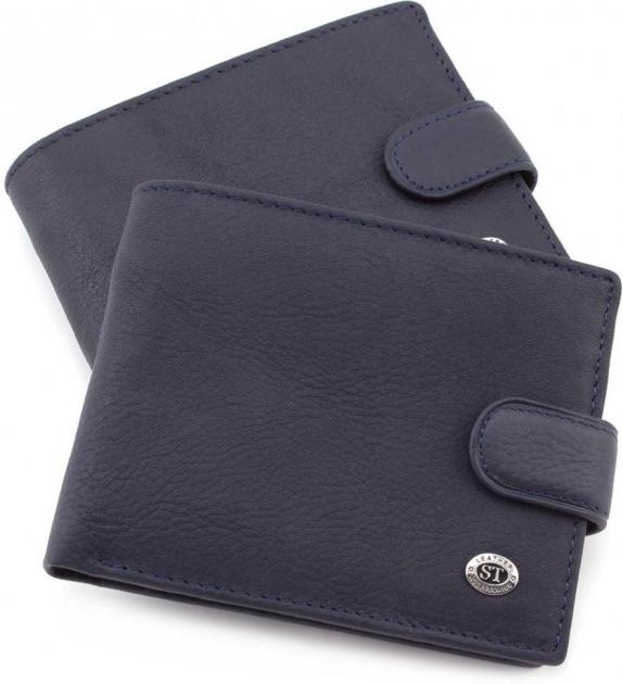 Классический мужской портмоне из натуральной кожи синего цвета Sergio Torretti (ST Leather) ST137 Black
