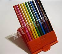 Цветные карандаши треугольные 12 цветов в пенале, фото 1