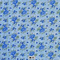 Тканина постільна донецький ситець- лілія на синьому