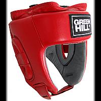 Шлем GREEN HILL UBF LOGO Кожа Красный, фото 1