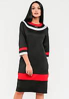 Яркое женское платье с контрастными вставками и рукавом 3/4 Modniy Oazis черный 90295/1