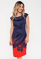 Нарядное женское полуприталенное платье с ярким принтом Modniy Oazis красный 90297/1