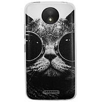 Чехол с рисунком Printed Silicone для Motorola Moto C Plus XT1723 Кот в очках
