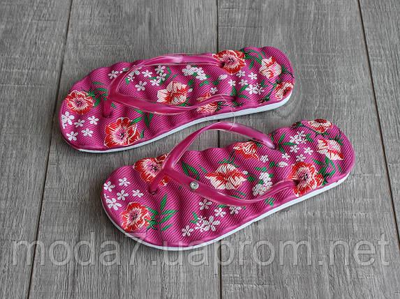 Вьетнамки женские розовые с цветами, фото 2