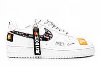 Мужские кроссовки Nike Air Force Low Just Do It. Белые. Натуральная кожа, фото 1