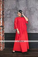 Красивое длинное платье с асимметричной гипюровой накидкой батал, фото 1