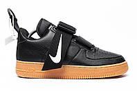 Мужские кроссовки Nike Air Force Low Black. Натуральная кожа, фото 1