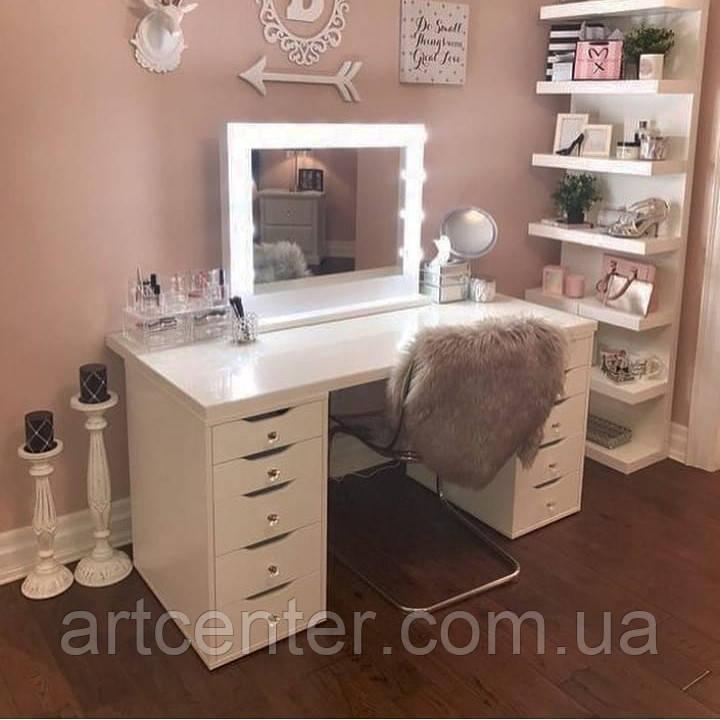 Туалетный столик с выдвижными ящиками и зеркалом, стол для макияжа