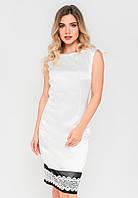 Нарядное деловое женское платье-футляр с кружевом по низу Modniy Oazis белый 90315/1, фото 1